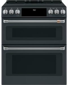 "Cafe 30"" ADA Slide-In Front Control Induction And Convection Double Oven Range"